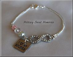 ARMY Girlfriend, Army Wife, I love my soldier, Army, Army Jewelry, Army Wife Bracelet, Army Mom