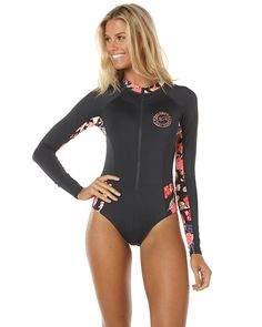 $120 (6-16) Features: Style: Womens One Piece Colour: Black Sands Material: 87% Polyester and 13% Elastane Fit Type: Long sleeve, medium coverage Detail: Solid front and back body Detail: Contrast floral print panels Detail: Front zipper Detail: Chest logo print Detail: 50+ SPF protectionSize + Fit Guide: Model's Height: 180cm Model's Bust: 86cm Model's Waist: 66cm Model's Hips: 94cm Model wears a Size: 8