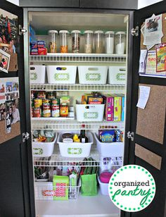 "Organized Pantry...this is a good post to read through...good ideas on organization. I like seeing the white dish pans for organization as they are so inexpensive and yet they look nice. She has utilized some cheap wire baskets on the ""sliver"" of wall (not seen in this pic) between the doors and the shelves. Great idea!!!"
