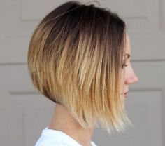 Chic asymmetrical ombre bob hairstyle for short hair