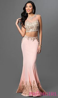 Two Piece Floor Length Dress with Lace Accents at PromGirl.com