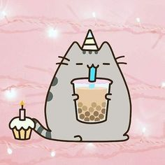 This pin is one of my favorites because I like Pusheen and I wanted a pusheen wallpaper/background on my PC and I found this one and I really like it :) Cute Kawaii Drawings, Cute Animal Drawings, Cat Wallpaper, Kawaii Wallpaper, Pusheen Birthday, Pusheen Love, Nyan Cat, Kawaii Cat, Cute Cartoon