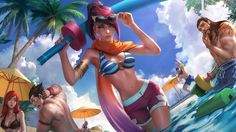 [League of Legends] Pool Party Fiora (Splashart) by PopokuPinguPop90