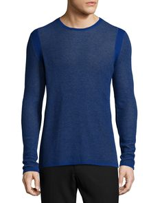 Thermal Knit Long-Sleeve T-Shirt, Blue - Vince
