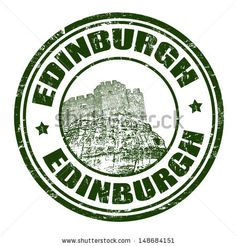 Green grunge rubber stamp with the name of Edinburgh, the capital city of Scotland written inside - stock vector