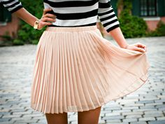 Stripes + Peach Pleats .