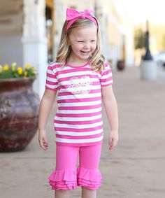 Another great find on #zulily! Candy & White Stripe Flower Tee - Infant, Toddler & Girls by RuffleButts #zulilyfinds