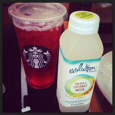 Tazo Shaken Iced Passion Tea (unsweetened) and Evolution Fresh Pineapple Coconut Water... a fabulous summer mix!