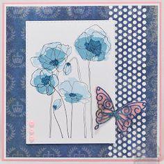 """simppeli kortti viikonlopuksi...kukka on rubberneckerin leima ja kaksiosaisesti leimattu, """"terälehdet"""" omalla leimalla ja varsi/ääriviiva..."""