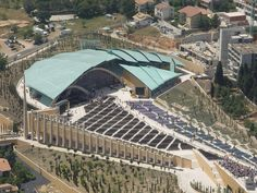 Padre Pio Pilgrimage Church, San Giovanni Rotondo, Italy (2004) / Renzo Piano Renzo Piano, Landscape Steps, San Giovanni, Modern Architecture Design, Roof Repair, Architectural Elements, Pilgrimage, Canopy, Mid Term