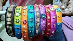 For reference Thread Bangles Design, Thread Jewellery, Jewelry, Hair Bands, Silk Thread, Belt, Bracelets, Accessories, Fashion