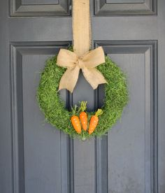 EASTER WREATH - Spring Wreath - Moss Wreath -burlap bow, and carrots