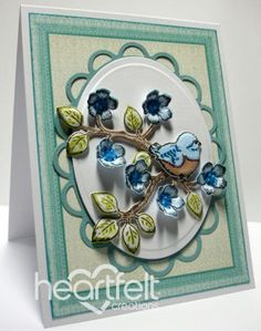 Heartfelt Creations | Blue Blooms And Bird I need to get that little fluffy birdies stamp set and die