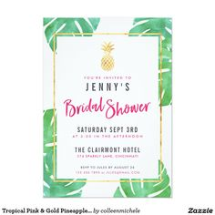 Tropical Pink & Gold Pineapple Bridal Shower