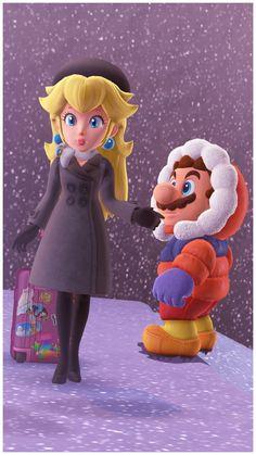 Snow Kingdom Peach and Mario Princess Peach Mario Kart, Super Mario Princess, Nintendo Princess, Super Mario Bros, Super Mario Brothers, Super Smash Bros, Mario Bros., Mario Party, Mario And Luigi