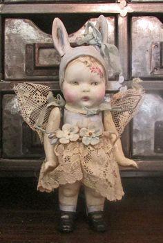 Suzie- Handpainted Bisque Bunny Girl