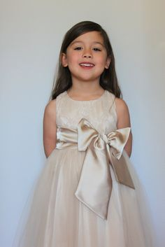Lace, champagne, satin, first communion, flower girl dress, wedding dress, bridesmaid dress, christening dress...size 3 months to size 16 on Etsy, $139.00