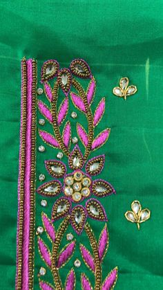 Best Blouse Designs, Simple Blouse Designs, Simple Embroidery Designs, Hand Work Embroidery, Mirror Work Blouse Design, Hand Work Design, Maggam Work Designs, Machine Quilting Designs, D1