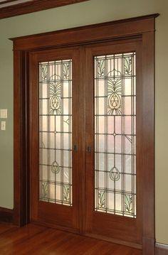 Wooden Door Design, Front Door Design, Wooden Doors, Glass Pocket Doors, Stained Glass Door, Door Trims, Craftsman Bungalows, Interior Barn Doors, Diy Door