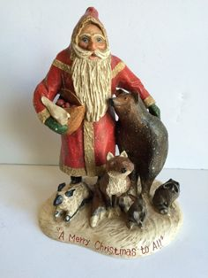 "Midwest L Schifferl Santa Woodland Animals Christmas Scene 11"" Folk Art Figurine"