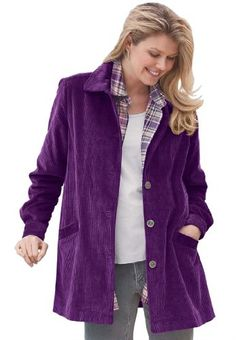 Plus Size Jacket In Plush Pleated Corduroy
