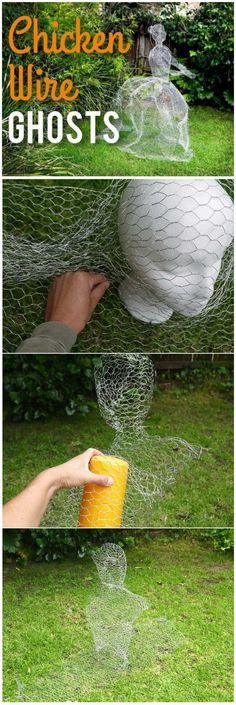 DIY Chicken Wire Ghosts For Halloween Garden.