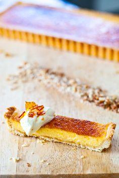 Thomas Keller's lemon sabayon tart with pine nut crust, from eatshowandtell.com