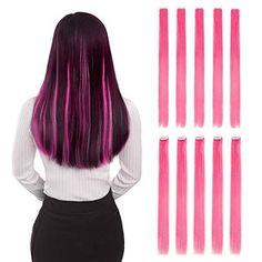 10 Piece Pink Clip-In 20 Straight Hair Extensions Pink Streaks, Hair Streaks, Hair Highlights, Brown Hair Extensions Clip In, Colored Hair Extensions, Extensions Hair, Straight Hairstyles, Braided Hairstyles, Hot Pink Hair
