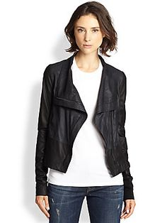 8f02490ffc13 Vince - Draped Colorblock Leather Jacket