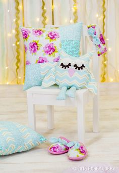 Get inspired to create your little girl's dream slumber party! From the slippers to the sleeping bag and so much more, this camp-themed set up is a dream.