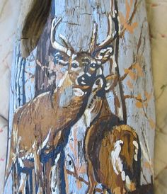 hand painted whitetail deer couple on Mississippi by paintallday
