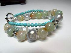 Multi strand bracelet, Gemstone bracelet, beaded bracelet, boho bracelet, Aqua jewelry by TwinCreeksCharming on Etsy
