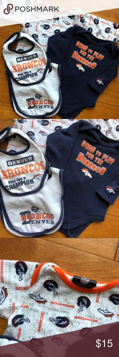 **HOST PICK** - Infant Denver Broncos Gear Bundle Denver Broncos official NFL Team Gear. 3-6 month long sleeve onesies.  Bib and burp cloth. Selling as bundle. Clean. Gently used.  Smoke-free home.  Bundle 5 items and get 30% off plus FREE shipping!  Just bundle it and offer $7 less than the discounted price :)  <Shipping is $7 or less>  I will accept! NFL One Pieces Bodysuits