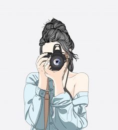 A woman holds a stylish camera and wears a denim jacket Premium Vector Tumblr Girl Drawing, Cute Girl Drawing, Art And Illustration, Camera Illustration, Illustration Fashion, Dibujos Tumblr A Color, Art Mignon, Girly Drawings, Easy Drawings