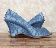 Dress up your trip down the aisle with these lovely peep toe wedge wedding  shoes! f4e031e186a5
