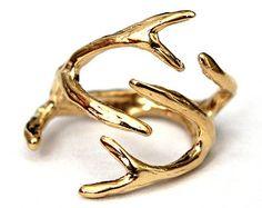 Silver Deer Antler Ring Silver Deer Horn by TheAntlerEmporium