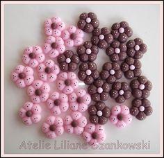 Apliques coloridos em biscuit, várias cores e tamanhos