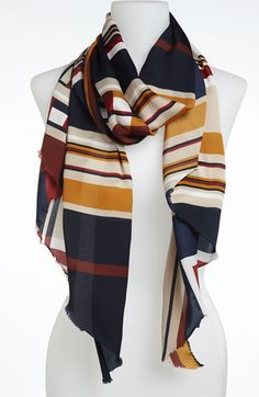 Trouvé 'Geo Square' Scarf | Nordstrom  ...LOVE the mustard and navy combo.