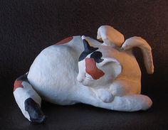 Paper Mache Angel Cat Sculpture by Jonni Good