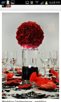Center piece black and red wedding