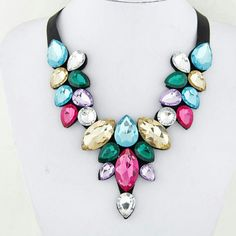 Cheap elegant jewelry, Buy Quality chunky necklace directly from China multicolor necklace Suppliers: Women's Girl Multicolor Crystal Pendant Bib Collar Chunky Necklace gros collier Elegant Jewelry Blue Necklace, Collar Necklace, Turquoise Necklace, Pendant Necklace, Choker Necklaces, Earrings, Beaded Choker, Rhinestone Necklace, Crystal Rhinestone