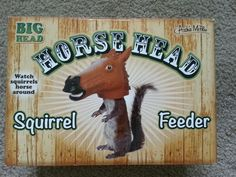 Squirrel Feeder Horse Head Big Head Outdoor Decor Novelty Gag New In Box