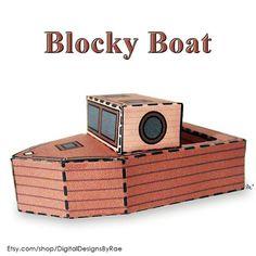 Blocky Boat http://ift.tt/2oQRNjj #thisboatdontfloat #3dpapercraft #papertoy #foldable #printable