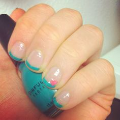 My at home manicure #frenchtips #nails #aqua #hearts #style #summer #manicure #nailpolish