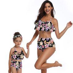56ed2671aa Floral Print High Waist Bikini 2019 Family Matching Bathing Suit Girls Swimsuit  Push Up Ruffles Swimwear