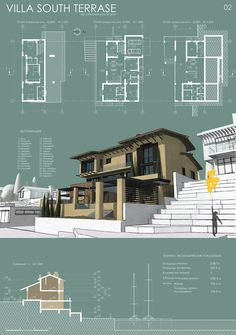 Villa South terrase Concept Board Architecture, Architecture Résidentielle, Architecture Presentation Board, Architecture Visualization, Architecture Graphics, Architecture Diagrams, Presentation Boards, Interior Design Presentation, Architectural Presentation