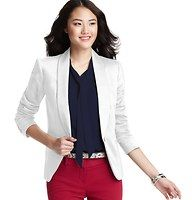 """Shawl Collar Clean Cotton Blend Blazer - Designed with a glam shawl collar and smart tailoring for an incredibly clean silhouette, this stretch cotton blend style is a have-to-have for everyday cool. Long sleeves. Single tortoiseshell button closure. Welt pockets. Two button cuffs. Lined. 23"""" long."""