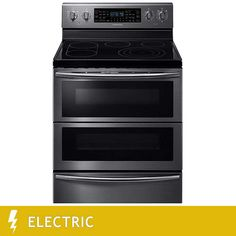 Samsung 5.9CuFt ELECTRIC Double Oven Flex Duo Range with Dual Convection and Soft Close Door in Black Stainless Steel