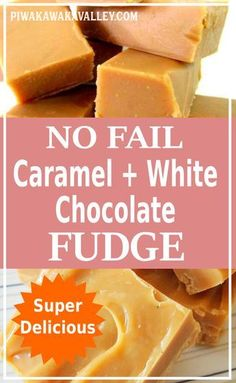 I admit I cannot make fudge, but this white chocolate and caramel no fail fudge works every time! You gotta try it. Fudge Recipes, Candy Recipes, Sweet Recipes, Dessert Recipes, Desserts, Breakfast Recipes, Dinner Recipes, Beginner Baking Recipes, Cooking Recipes