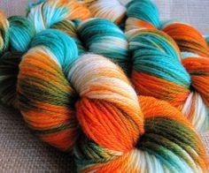 Aquaman - Superwash Merino Yarn - DK Weight - Hand Dyed Orange White Aqua Blue by GnomeAcres